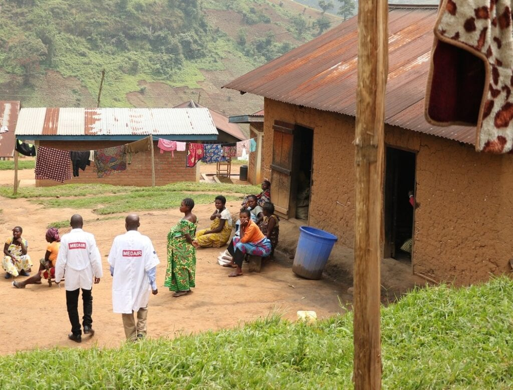 Congolese doctors make their rounds to check the condition of pregnant women at the maternal waiting home